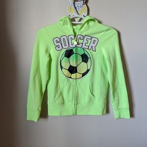 Green Sparkly Soccer Zippered Justice Hoodie